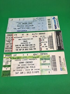 Kenny Chesney Train Zac Brown Band Concert Ticket Stub