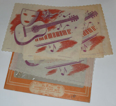 VINTAGE 1940s UNUSED PAPER PLACE MATS! MUSICAL DESIGN WITH GUITAR! COLORFUL!