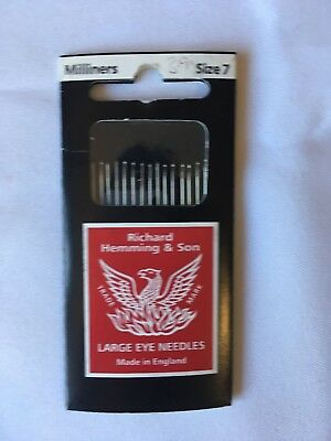Richard Hemming & Sons Milliners needles, large eye needles size 7, new unopened