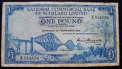 Scotland 1959 National Commercial Bank of Scotland Ltd  ONE POUND (£1) Banknote