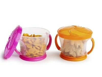 Munchkin 2 Piece Snack Catcher, Pink/Orange, NEW