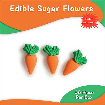 Edible Sugar Flowers 36 Carrots Cake Boxes Cupcake Toppers Cake Decorations