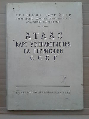 1962 vintage ATLAS OF COAL ACCUMULATION ON THE  U.S.S.R. TERRITORY (in Rus/Eng)
