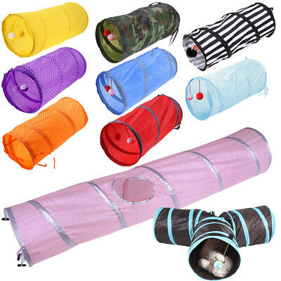 Pet Cat Funny Toys Tunnel Collapsible Dot Tent Training Play House w/ Bell Ball