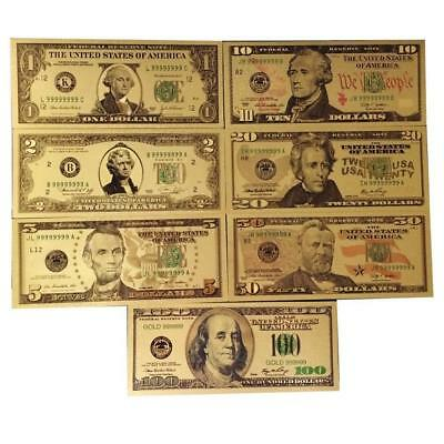 7PCS Gold Dollar Bill Full Set Gold Banknote Colorful USD 1/2/5/10/20/50/100 US