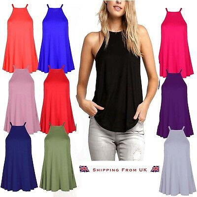 New Womens Ladies High Neck Cami Vest Swing Camisole Top Sleeveless Tank UK 8-22