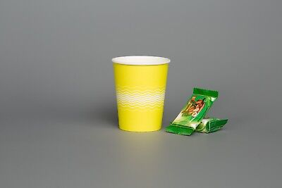 SUNSHINE YELLOW PAPER CUPS Birthday Party 8oz 12oz For Cold Hot Drinks Sip & LID