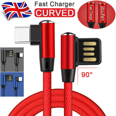 For Samsung S8 S9 Huawei P20 USB Type C 90 Degree Charger Cable Nylon Braided 1M