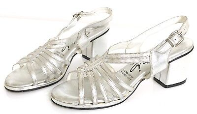 Vintage Silver Leather Block Heels Strappy Sandals Shoes 7