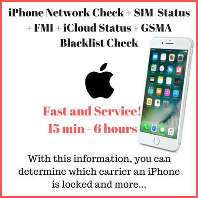 iPhone IMEI Check + SIM Status + FMI + lCloud Status + Blacklist Check