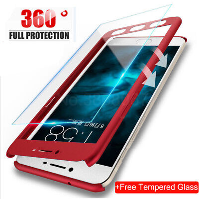 For Xiaomi Redmi Note 4 A1 5A 5Plus Shockproof 360 Slim Case Cover +Temper Glass
