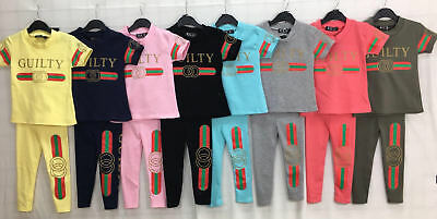 Girls Kids Guilty Tracksuit Leggings & Top Lounge Suit Summer Short Sleeve 2-13Y