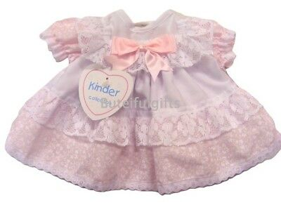 Premature Baby Girls Pretty Traditional Spanish Style Lace & Bow Frilly Dress