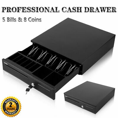 Heavy Duty POS Cash Drawer Register 4 Bills 5 Coins Removable Cash Tray Till Box