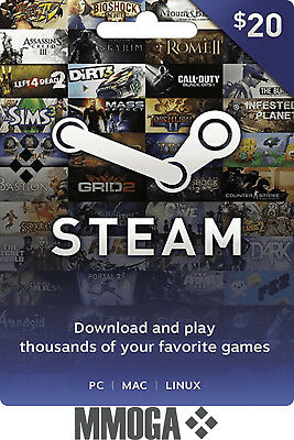 $20 Steam Gift Card - 20 USD Dollar Steam Wallet Prepaid Card - No Region Limit