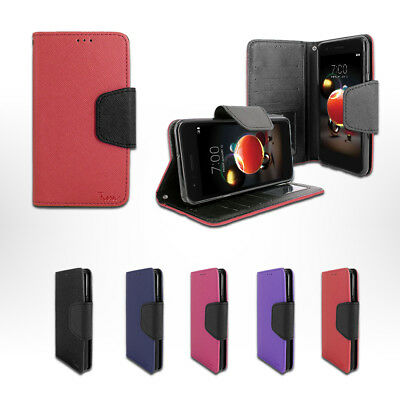 new product 6c0df f9185 FOR CRICKET LG Fortune 2/ LM-X210 Leather Double Wallet Flip Folio ...