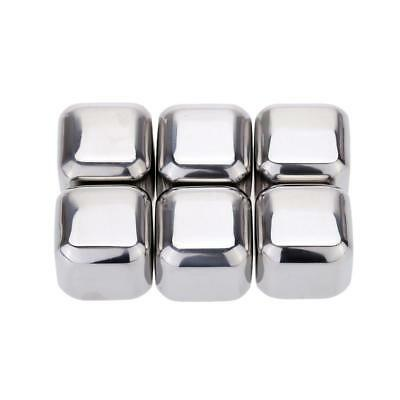 Stainless Steel Ice Cubes Reusable Drink Cooler Pack of 6 Metal Ice Cubes Z1F9