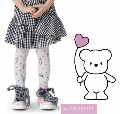 Girls White Tights By Knittex TEDDY 40 Den Microfibre Teddy Pattern