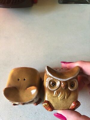 Kitsch Vintage Owl Salt And Pepper Shakers circa 1970