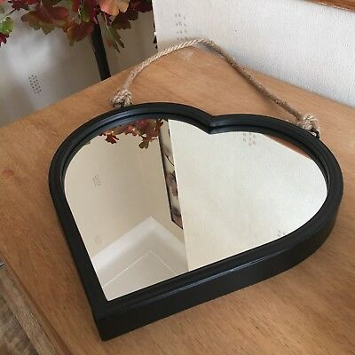 industrial heart wall mirror black metal frame hanging wall heart mirror 32cm
