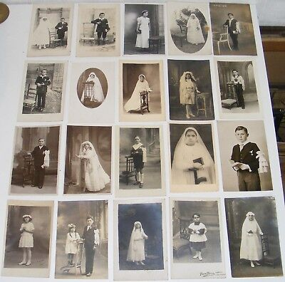 Lot 20 Cartes Postales Photos Anciennes Communiantes Communiants /t272