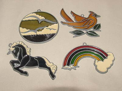 4 - Suncatchers Bird Rainbow Horse Lead/Metal Stained Glass/Lucite Colorful USED