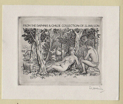 Mark SEVERIN Exlibris GRAPHIA 1976 4 Orig. Erotic Nude James Wilson sign C2 X2
