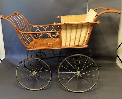 Antique Haywood Child's Carriage on Metal Wheels