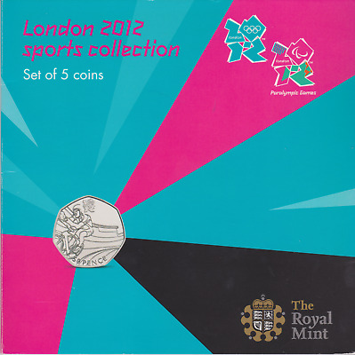 2012 Brilliant Uncirculated London Olympic 5 Coin 50p Set Pack