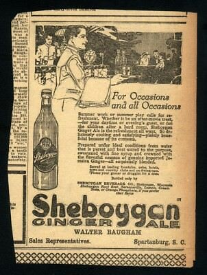 1920 ORIGINAL Sheboygan Ginger Ale Newspaper Ad~All Occasions~Not A Copy