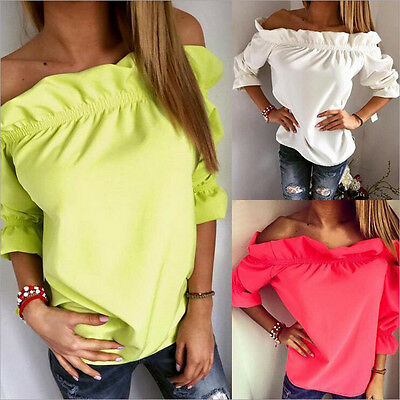 New Fashion Women Off Shoulder Casual Long Sleeve T-Shirt Loose Tops Sexy Blouse