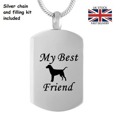 My Best Friend Dog Pet Cremation Urn Pendant Ashes Necklace Funeral Memorial