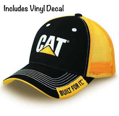 04035f5133576 NWT CAT Caterpillar Hat BLACK YELLOW Cap Embroidered + High Quality Vinyl  Decal