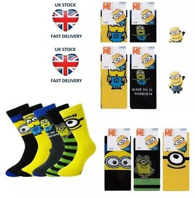 48 Pairs Mens Despicable Me Minions Socks Assorted Size 6-11 Wholesale Job Lot