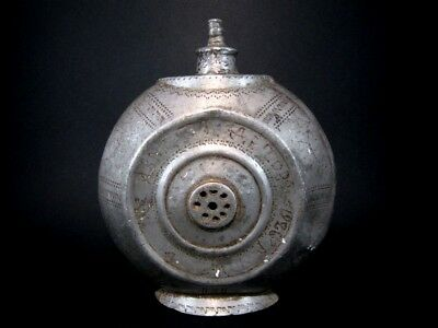 RARE ANTIQUE 1884s. PEWTER FLASK-BOTTLE with YEARS INSCRIPTION AND NAME+++