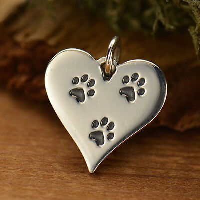 Sterling Silver Dog Paw Heart Charm Paw Print Pendant necklace animal lover 1512