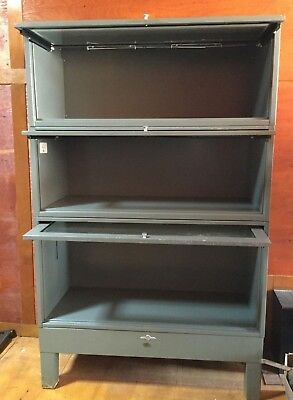 Vintage Antique Globe Wernicke Barrister Bookcase Gray Metal Lawyer Cabinet 7313