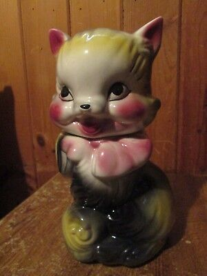 "AMERICAN BISQUE Pottery  ""FLUFFY the CAT"" Cookie Jar by Ludowici Celadon - 1930s"