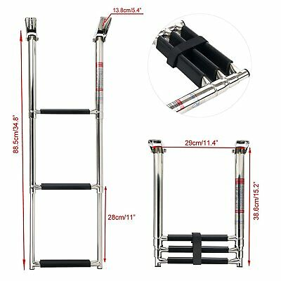 3 Step 304 Stainless Steel Folding Telescoping Boat Ladder Swim Step New Selling