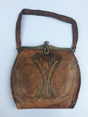 48b520e730 ANTIQUE ARTS   Crafts   Meeker Made  Woman s Brown Embossed Leather ...