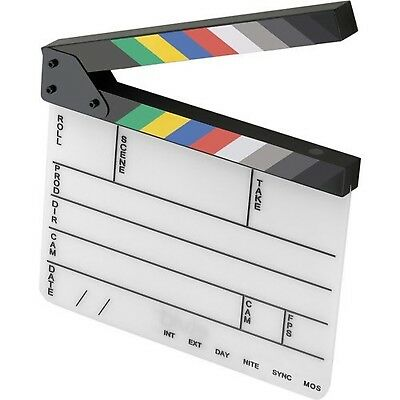 Elvid 9-Section Acrylic Dry Erase Production Slate [Clapboard] with Color Cla...