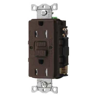 HUBBELL WIRING DEVICE-KELLEMS GFTRST15 GFCI Rceptcle,Commer.,Brwn,15A,0.5 HP