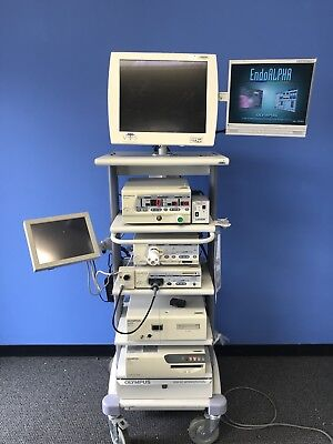 Olympus EndoAlpha Endoscopy Tower w/s7 Processor, CLV-S4 Light Source And UHI 3