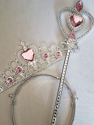 Silver Wand and Tiara Set with Pink Stones - Kids fairy princess