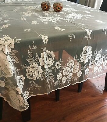 """Lace Tablecloth Rectangle 60""""x88"""" - white-3 days shipping from USA"""