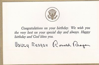 Ronald reagan birthday card white house barbecue invitation rare ronald reagan nancy reagan autographed personal happy birthday card bookmarktalkfo Choice Image
