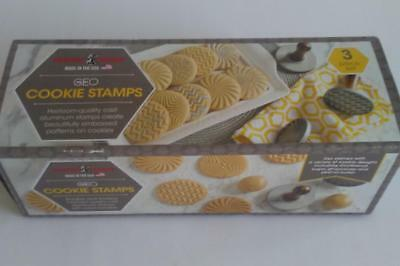 Nordic Ware GEO 3 Cookie Stamps Wood Handles