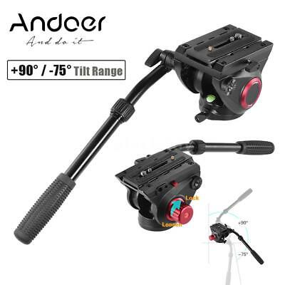 360° Panoramic Fluid Drag Damping Head Video Tripod Head Quick Release QR Plate