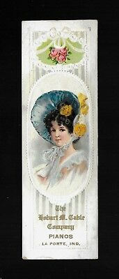 Southern Belle In Big Blue Bonnet-1880s Embossed Victorian Trade Card / Bookmark