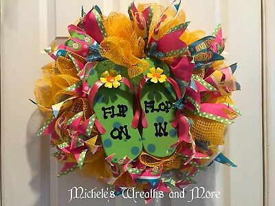 59a5f51dfb0988 DECO MESH WREATH for your Front Door Yellow Sunflower NEW -  30.00 ...